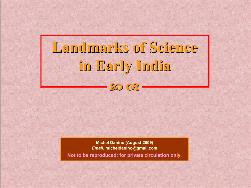 Landmarks of Science in Early India