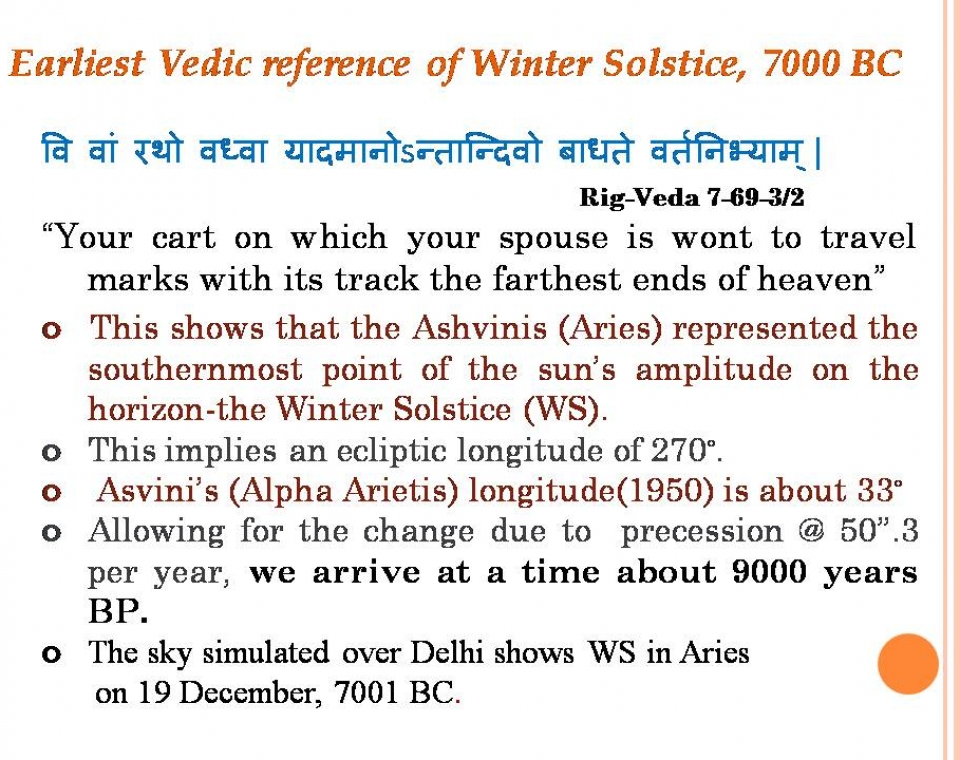 Astronomical dating of vedas